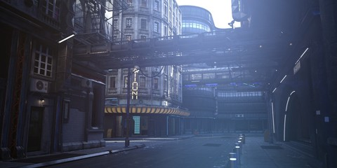 Fotomurales - Futuristic city. Empty street with neon lights. Photorealistic 3d illustration in the style of cyberpunk. Urban landscape in a white haze.