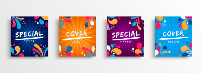 Sale and design background set with colorful art