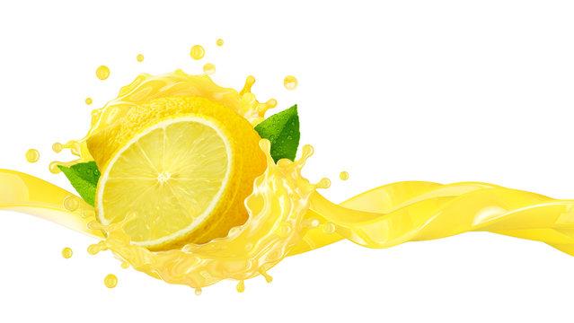 Fresh ripe lemon fruit, lemon slice and lemon juice or diet lemonade splash wave. Juice splashing, lemon juice label. Liquid healthy detox drink tropical citrus fruit design element. 3D