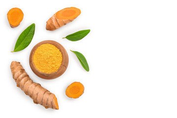 Fototapeta Turmeric powder and turmeric root isolated on white background with copy space for your text. Top view. Flat lay obraz