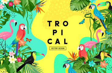 Fototapeta Exotic jungle summer background frame layout with palm leaves and tropical birds. Vector illustration obraz