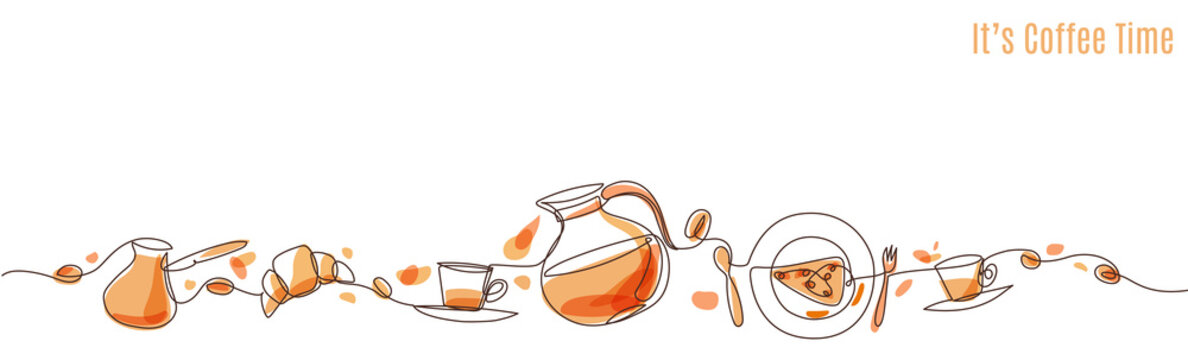 Vector coffee illustration drawn with one line.