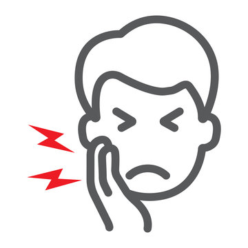 Toothache line icon, body and pain, tooth pain sign, vector graphics, a linear pattern on a white background.