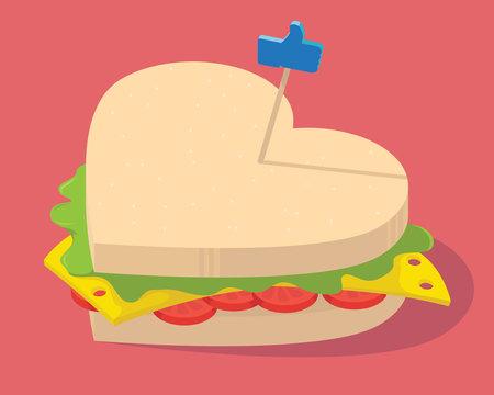 Social Snack illustration Vector. Like food sandwich social media, design, restaurant design concept