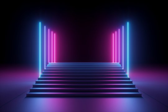 3d render, abstract pink blue neon background, ultraviolet glowing vertical lines, illuminated stairs, fashion podium, performance stage