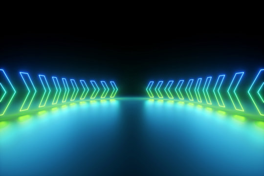 3d render, blue green glowing neon arrows going forward, abstract background, direction concept
