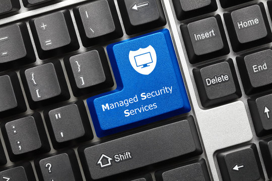 Conceptual keyboard - Managed Security Service (blue key)