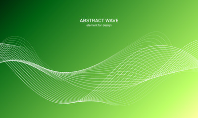 Abstract wave element for design. Digital frequency track equalizer. Stylized line art background. Colorful shiny wave with lines created using blend tool. Curved wavy line, smooth stripe Vector