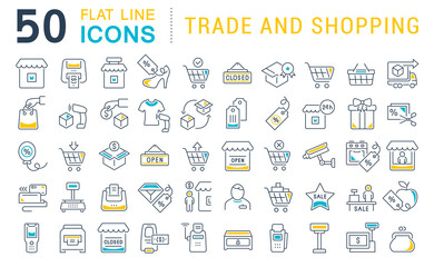 Set Vector Line Icons of Trade and Shopping