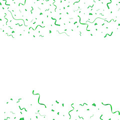 Green serpentine and confetti vector holiday background