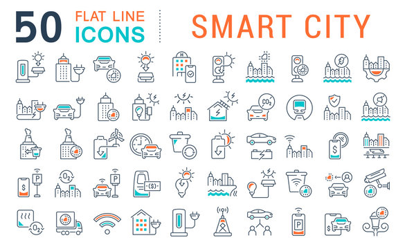 Set Vector Line Icons of Smart City