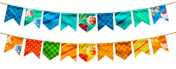 Obraz Bandeira Festa Junina varejo. Selo promocional 3d Brasil para festa de junho de cartão ou cartaz para férias. Selo São João e arraiá. Tipografia festiva - fototapety do salonu