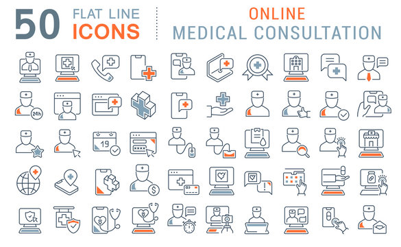 Set Vector Line Icons of Online Medical Consultation