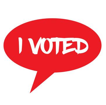 I VOTED stamp on white background