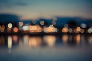 Vintage of city lights bokeh with reflection