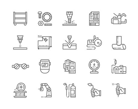 Set of Welding Line Icons. Spot Machine, Washers, Bolts, Blowtorch and more.