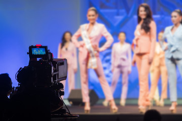 High Video DSLR Production Camera social network live recording on Stage event which interview session, Miss Pageant Beauty contest, performance, fashion show, concert or business seminar OB switch