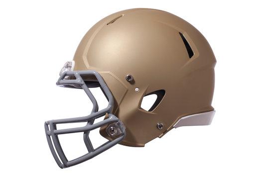 Gold football helmet isolated on whtie