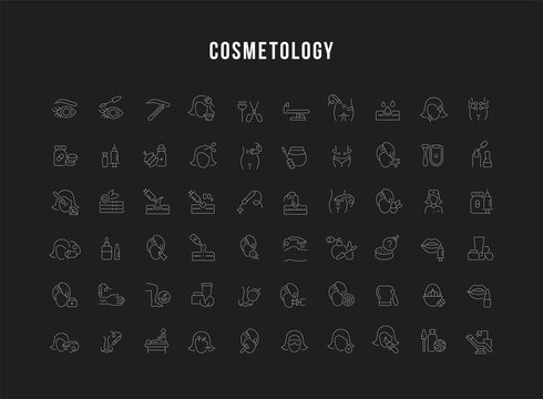 Set Vector Line Icons of Cosmetology