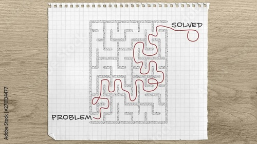 Concept animation: Problem Solving maze, Problem Solved text, maze