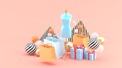Mannequin in the middle of the shopping bag and the gift box on the pink backdrop.-3d rendering.