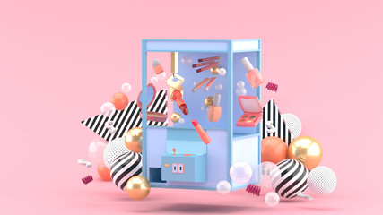 cosmetic catcher machine amid colorful balls on a pink background.-3d rendering.