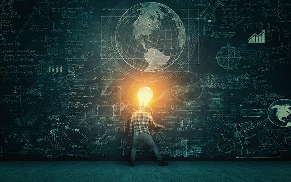 Bulb head solving math problem