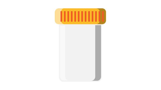 Beautiful medical plastic can with a lid white for tablets of capsules with drugs, for collecting analyzes of stool urine sperm for pharmaceutical tests on a white background. Vector illustration