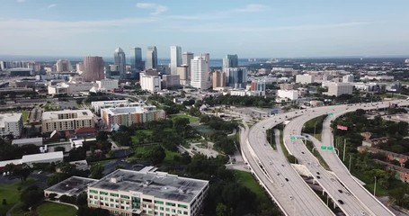 Fotomurales - Aerial View Rush Hour Traffic Tampa Bay Highway Florida Coast