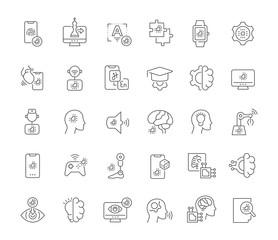 Fototapeta Set Vector Line Icons of Artificial Intelligence