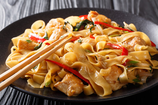 Pad Kee Mao is a traditional Thai dish with chicken, wide rice noodles and plenty of fresh basil in a spicy, sweet and tangy rich sauce  close-up. horizontal