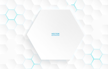 Abstract. Hexagon white background , blue light and shadow. Vector.
