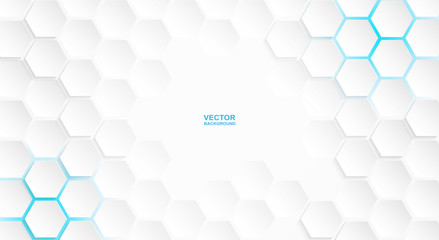 Abstract. Hexagon white background , blue light and shadow. Vector. Wall mural