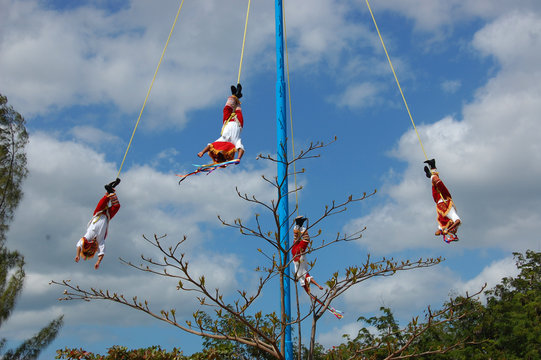 Flying Dancers at Tulum Mexico.