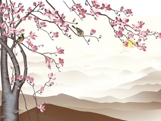 Landscape illustration, fog, hills, sunrise, two flocks of birds flying away, blooming cherry with pink flowers and sitting birds