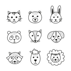 Set of cute doodle animal faces in scandinavian style isolated on white background.
