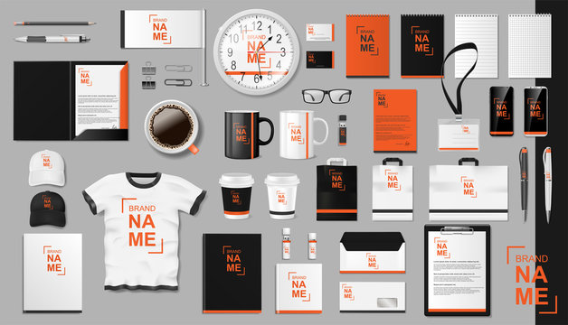 Corporate Branding identity template design. Modern Realistic colorful Business Stationery mockup. Stationery and uniform, paper pack, Coffee, package for your brand. Vector illustration