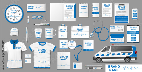 Corporate medical clinic Branding identity template design