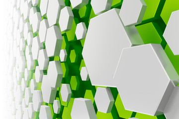 white and green hexagon background Wall mural