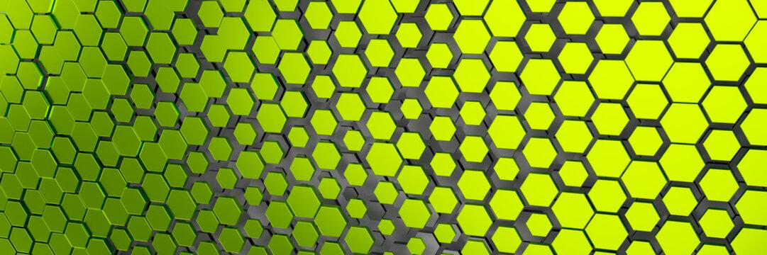 green yellow hexagon background
