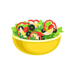 Vegetable salad in a deep yellow bowl. Vector illustration on white background.