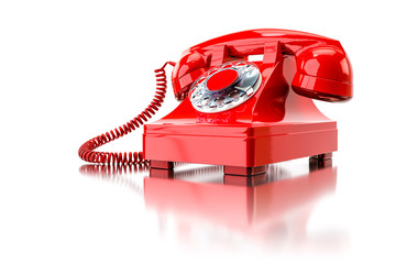 old red dial-up phone