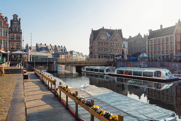 Wall Mural - embankment Graslei and medieval buildings. Former center of the medieval harbor. Ghent, Belgium.