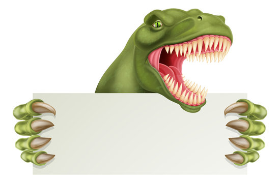 A scary dinosaur T Rex cartoon character holding a sign with space for your copy