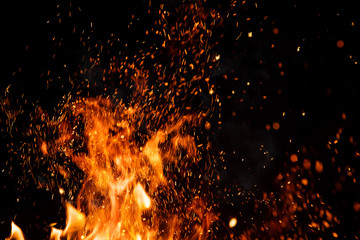 Printed roller blinds Fire / Flame Detail of fire sparks isolated on black background