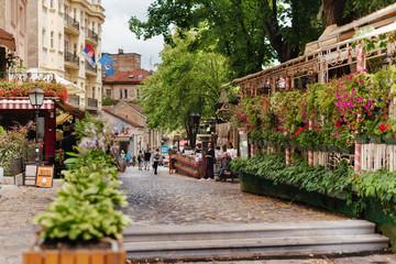 Belgrade, Serbia - June 16, 2018. Flowers in pots on historic place Skadarlija with trees, cafes,...