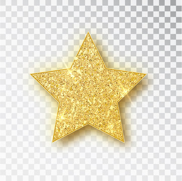 Gold glitter vector star. Golden sparkle luxury design element. Vector particles.