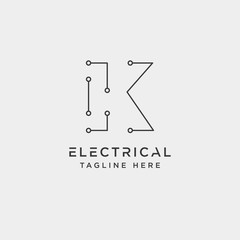 connect or electrical k logo design vector icon element isolated
