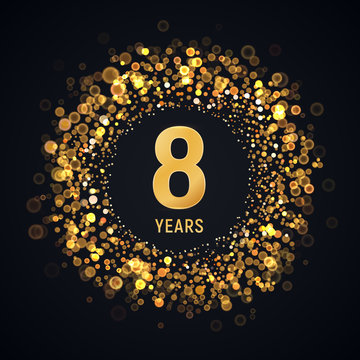 8 th years anniversary isolated vector design element. Eight birthday logo with blurred light effect on dark background