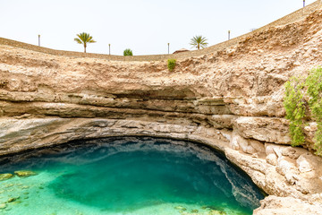 Bimmah Sinkhole in eastern Muscat Governorate, Oman. It is 50 m by 70 m wide and approximately 20 m deep.